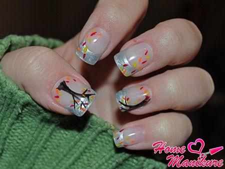 Кленовый лист на ногтях: фото и видео нейл-арта с листьями