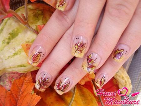 листья на ногтях френч