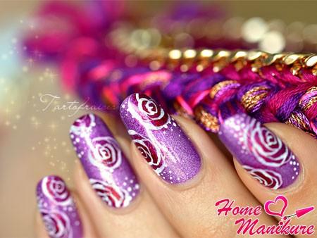 простые рисунки роз на ногтях
