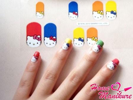 стикеры для ногтей в стиле hello kitty
