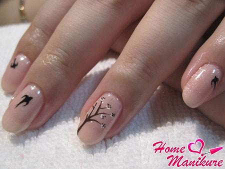 филигранные осенние рисунки на ногтях