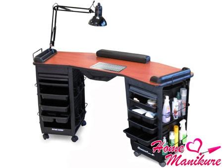функциональный стол с лампой и вытяжкой для маникюра