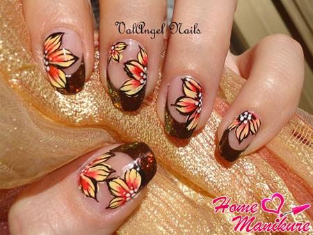 красивые ногти френч с осенними цветами