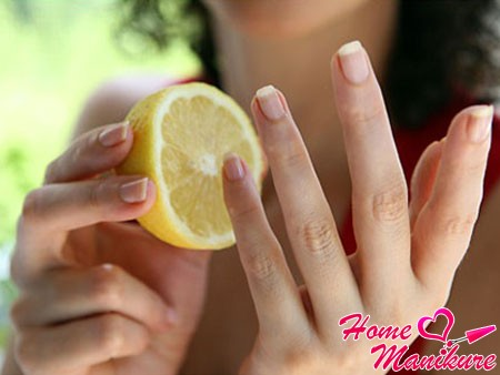 лимон поможет вылечить желтые ногти