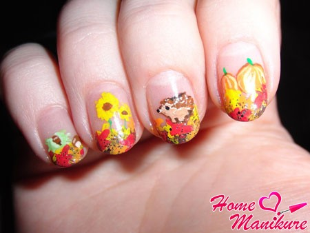 милые рисунки на ногтях на осень