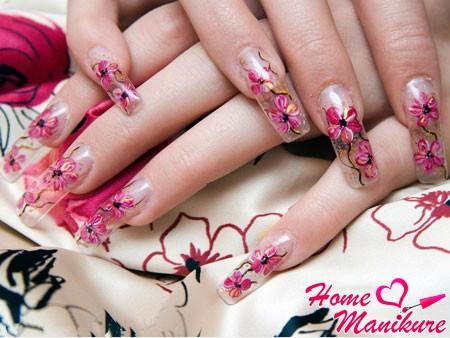 аквариумный дизайн нарощенных ногтей 2014
