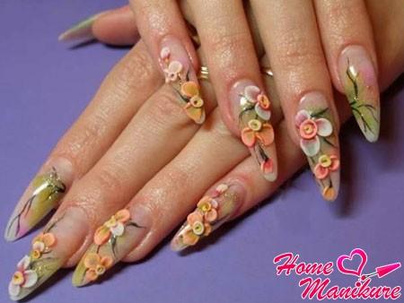декоративная лепка на акриловых ногтях