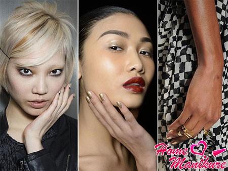 модный золотой маникюр в сезоне 2014-2015