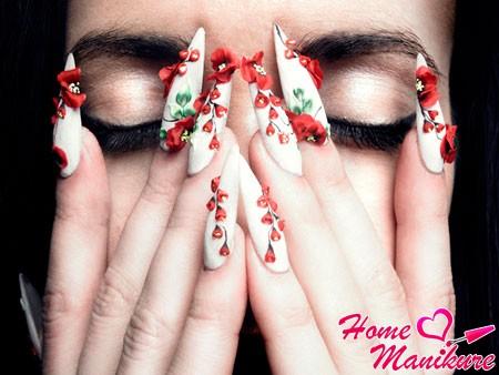 роскошная лепка на нарощенных ногтях