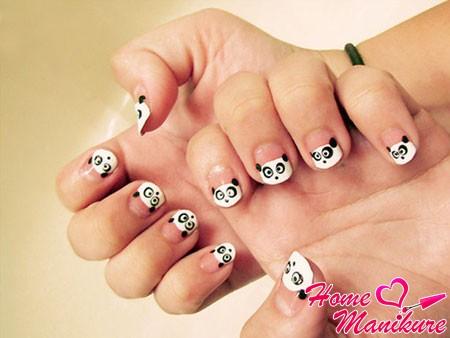 детский дизайн ногтей с пандой