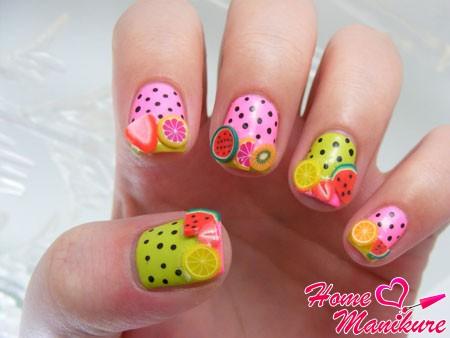 дизайн ногтей с разными фруктами