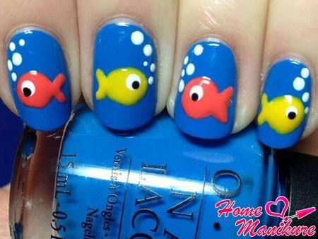 маникюр для детей с рыбками