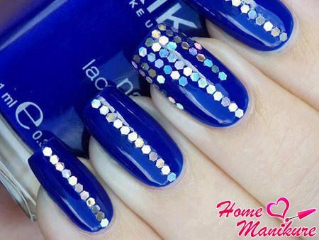 синий дизайн с блестками