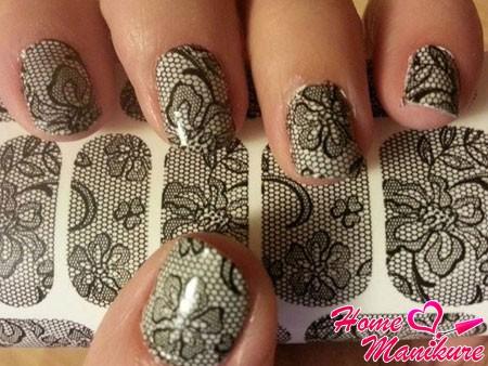 наклейки для ногтей в стиле сетчатых колготок