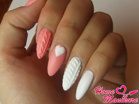 нежный вязаный дизайн ногтей