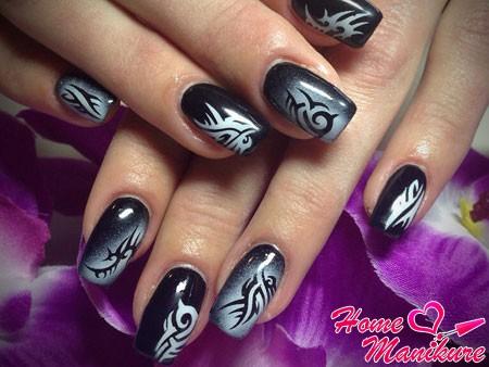 резкий и стильный дизайн на ногтях