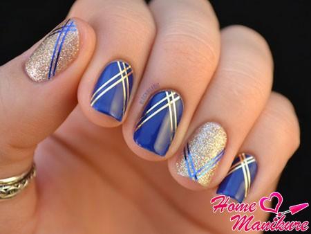 роскошный сине-золотой дизайн ногтей