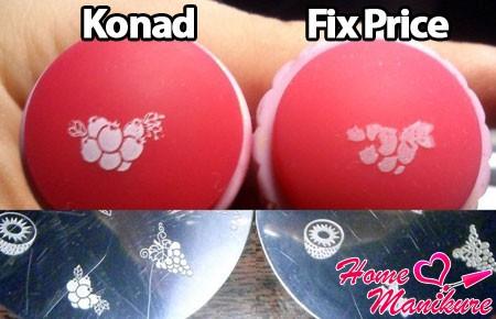 сравнение стемпинга Konad и Fix Price