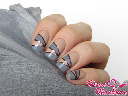 стильный дизайн ногтей с лентами