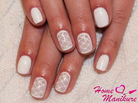 вуаль на ногтях в белом исполнении