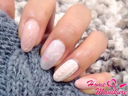 вязаный дизайн ногтей для зимы