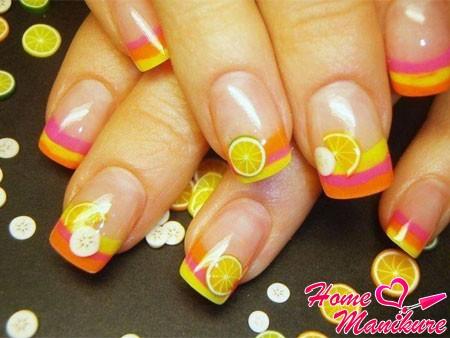 единичные кусочки фимо на ногтях