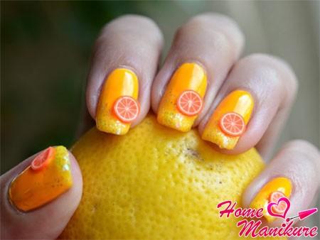 фруктовый нейл-арт с апельсинками