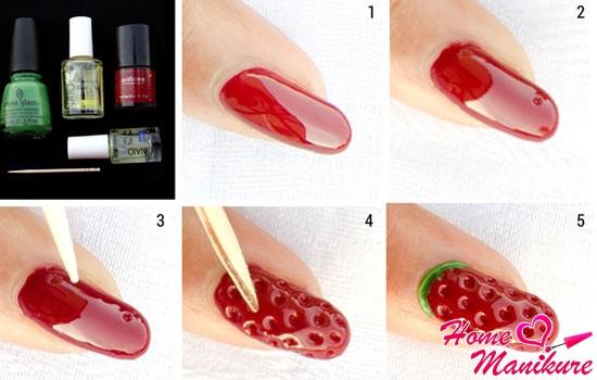 инструкция рисунка с клубникой на ногтях