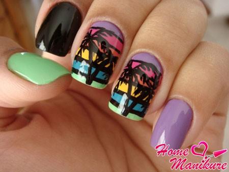 креативный дизайн ногтей с пальмой