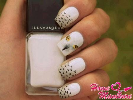ногти с совой