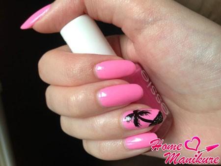 рисунок пальмы на ногтях