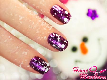 фиолетовый дизайн ногтей