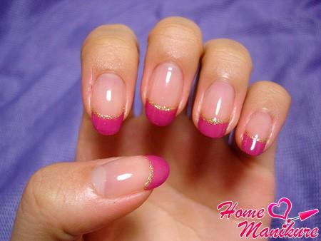 розовый френч с глиттером