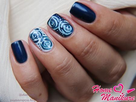 Рисунки на ногтях по мокрому