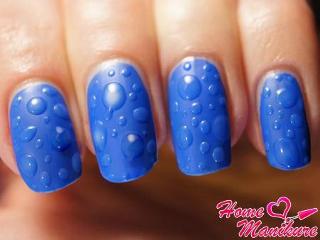 дизайн ногтей с каплями воды