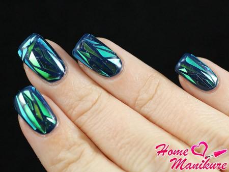 трендовый дизайн ногтей со стеклом