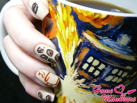 дизайн ногтей в кофейном стиле