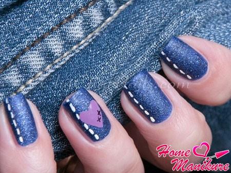 джинсовые ногти с сердцем
