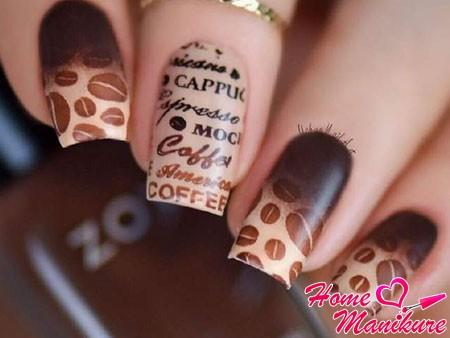 градиентный маникюр в стиле кофе