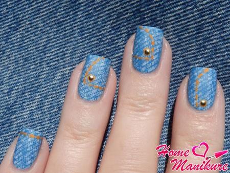 имитация джинсов на ногтях
