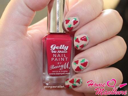 простейший рисунок малины на ногтях