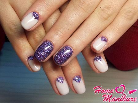 роскошная втирка блестками на ногтях