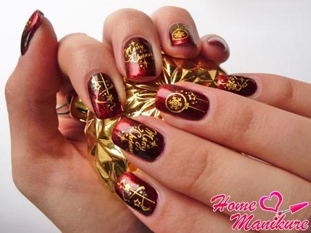роскошный бордово-золотой новогодний дизайн