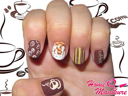 веселый дизайн ногтей на тему кофе