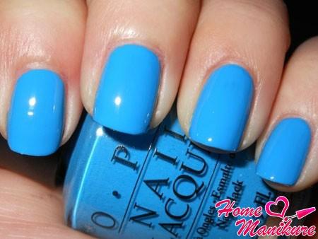 голубой лак для ногтей OPI