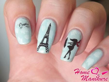 дизайн ногтей на тему Парижа