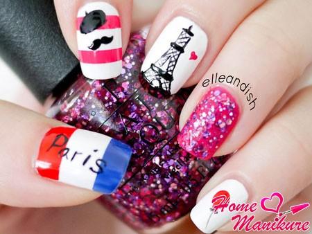 рисунки на ногтях в стиле Франции
