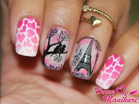романтичная роспись ногтей