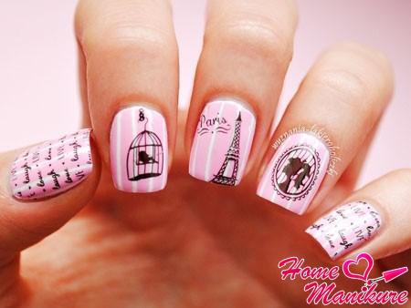 розовый маникюр в парижском стиле