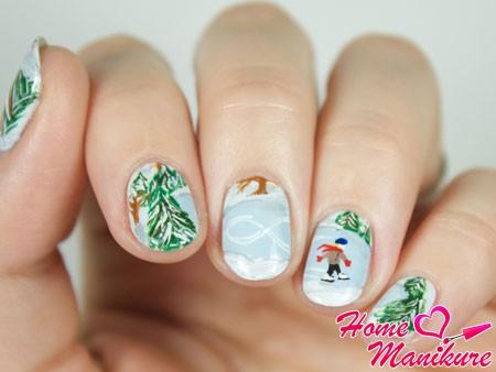 дизайн ногтей на зимнюю тему